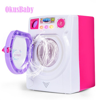 Eletronic Children Pretend Play Mini Roller washing machine With Sound and Lights emulational Water effluent Baby Girls Toy GIft - discount item  50% OFF Pretend Play