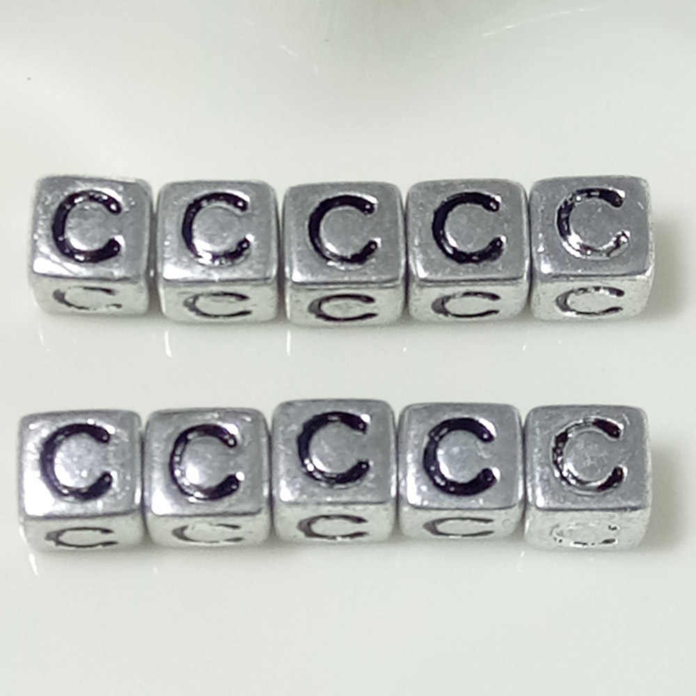 10 unidades/pacote 6mm Acrílico Spacer Prata/Ouro Carta Quadrado Talão Alfabeto Beads Para Fazer Jóias DIY Acessórios Feitos À Mão