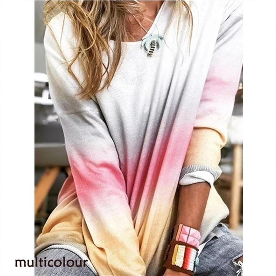 Popular Rainbow Gradient Casual Streetwear Loose Lady Autumn/Winter Pullovers O-Neck Long Sleeve Elegant Mid Length Women TShirt