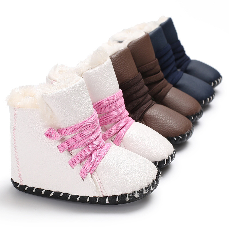Hai shen Yue Winter Models 0 1 Year Old Pu Thick Baby Shoes PU Leather plus Velvet Warm Snow Boots Rubber Sole Anti slip BABY'S|Shoe Racks & Organizers| |  - title=
