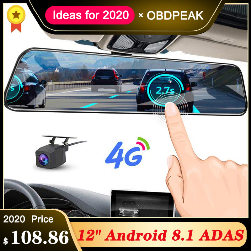 <font><b>2019</b></font> 12 Inch Android 8.1 Car DVRs Camera GPS Navi Bluetooth FHD Rear View <font><b>Mirror</b></font> with Camera DVR Recorder 4G Wifi ADAS <font><b>Dash</b></font> <font><b>Cam</b></font> image