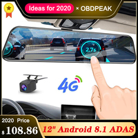 2019 12 Inch Android 8.1 Car DVRs Camera GPS Navi Bluetooth FHD Rear View Mirror with Camera DVR Recorder 4G Wifi ADAS Dash Cam