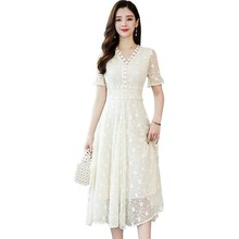Women Beach summer dress 2019 temperament v-neck long lace for women with short sleeves and
