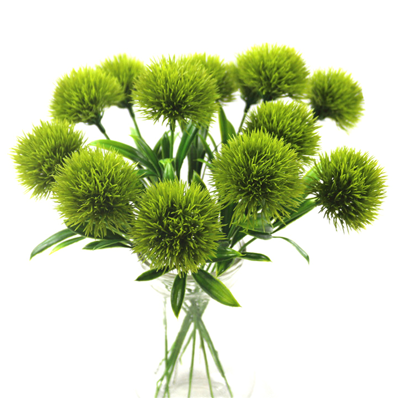 artificial flowers green real touch dandelion fake plants plastic home decoration Length 25cm