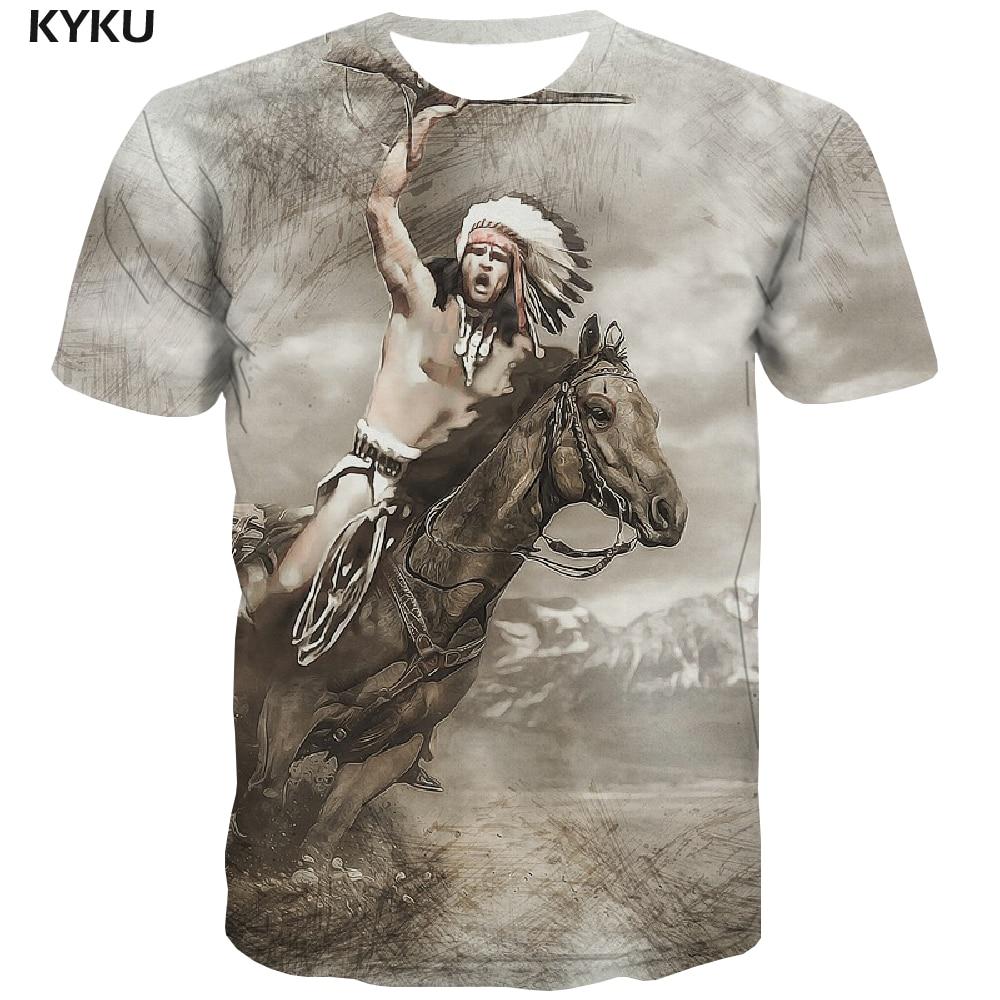 KYKU, индийская футболка, мужские футболки с лошадью, повседневные Забавные футболки с животными, эскиз аниме, одежда с рисунком, рубашка с при...
