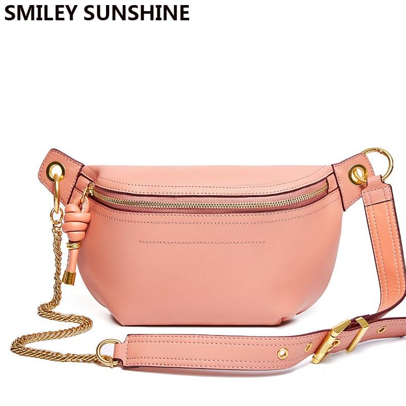 New Brand Genuine Leather Chest Bag Pink Fashion Flap Saddle Women Messenger Bag Crossbody Sling Shoulder Bags for Women 2020