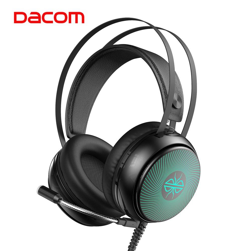 DACOM GH08 игровая гарнитура с светодиодный светильник HD Mic 3,5 мм проводные наушники для геймеров стерео звук для ПК компьютеров телефонов ноутб...