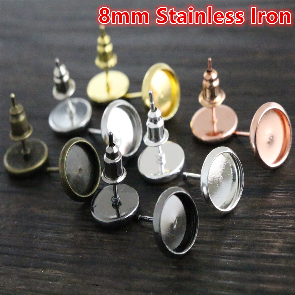 8mm 50pcs/Lot  8 Colors Plated Stainless Iron Earring Studs(with Ear Plug) Base,Fit 8mm Glass Cabochons