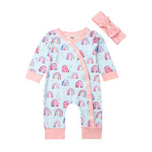 Newborn Infant Baby Girl Long Sleeve Romper Floral Rainbow print Jumpsuit Outfit