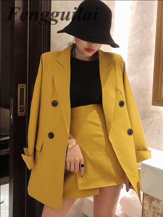 Two Piece Set Lady Casual Blazer + Mini Skirt Clothing Set Women Spring Autumn 2020 New Female Office OL Outfits Workwear