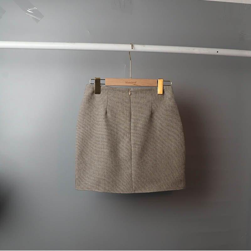 Mozuleva 2020 Retro Solid Blazer Set Single-breasted Jacket & Pencil Skirt 2 Pieces Skirt Suit Female Office Ladies Blazer Suit 9