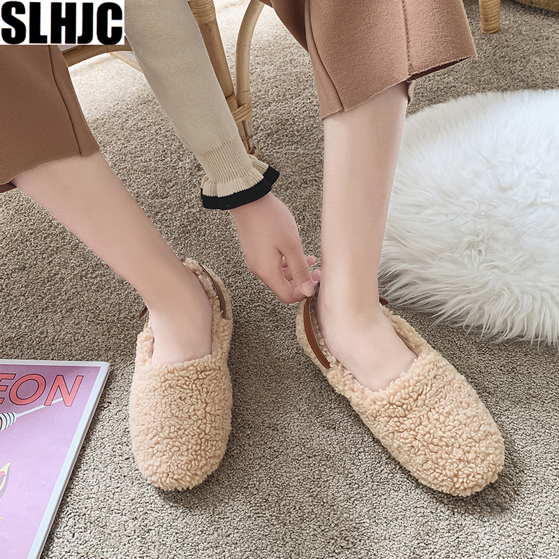 SLHJC Round Toe Loafers Flat Heel Slip On Women Autumn Flats Shoes Curly Fur Warm Female Drive Shoes 21