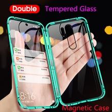 Magnetische Adsorptie Metalen Telefoon Case Voor Xiao Mi Mi CC9 CC9E 8 9 9T A2 A3 Lite F1 Dubbele glas Cover Rode Mi K20 Note 7 8 Pro Funda