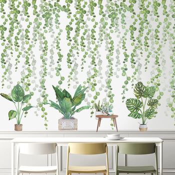 цена на Tropical Leaves Wall Stickers Green Plant Bonsai Flower Bird PVC Removable Stickers For Kids Room Home Living Wall Decals Murals