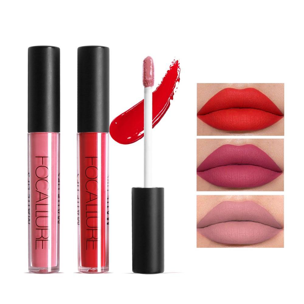 FOCALLURE Lipstick Matte Red Lips Makeup Lip Gloss Tint Waterproof Gold Shimmer Metallic Nude Matt Liquid Lipstick Pencil