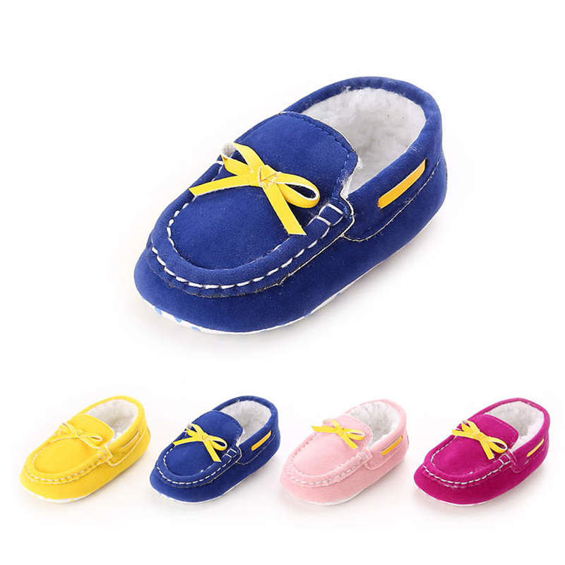 Newborn Baby Girl Crib Shoes Infant Lovely Yellow Bowknot Soft Fluff Cotton Easy First Walkers Toddler Girl Moccasins Shoes