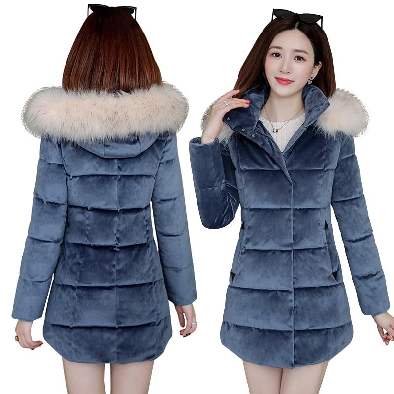 Winter Coat jacket 2019 New women's   Parkas   Slim hooded fur collar gold velvet thick warm winter Coat snow -30 degree Coats women