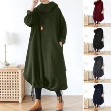 ZANZEA Plus Size Women's Sweatshirt Dress Sundress 2020 Long Sleeve Turtleneck Hoodies Vestidos Fema