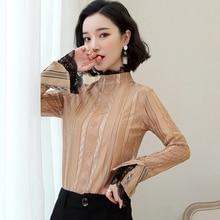Korean Fashion Lace Women Blouses Flare Sleeve Pink Chiffon Women Shirts Plus Size XXL Blusas Femininas Elegante Ladies Tops цена