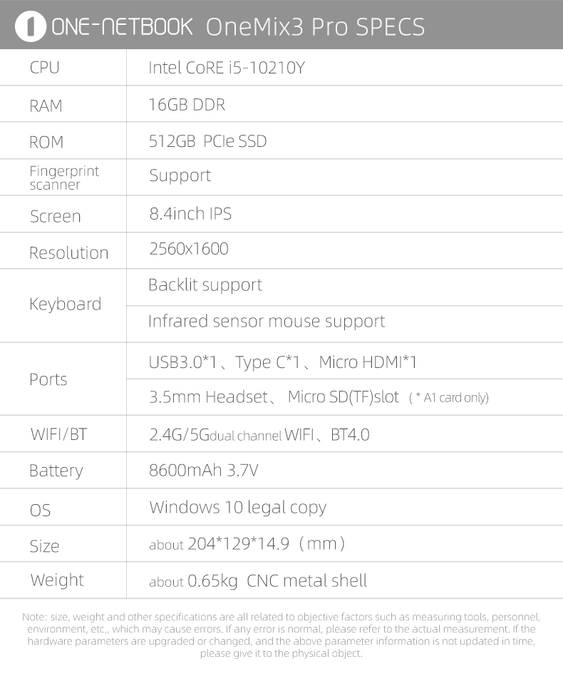 "One Netbook One Mix 3 Pro Yoga Pocket Laptop Intel Core i5 10210Y 8.4"" IPS Screen 2560*1600"