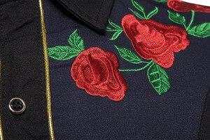 Image 4 - 男性のローズフラワー刺繍西部シャツメキシコ男白シャツスリムフィットロングスリーブパーティー祭カウボーイ衣装 camisas