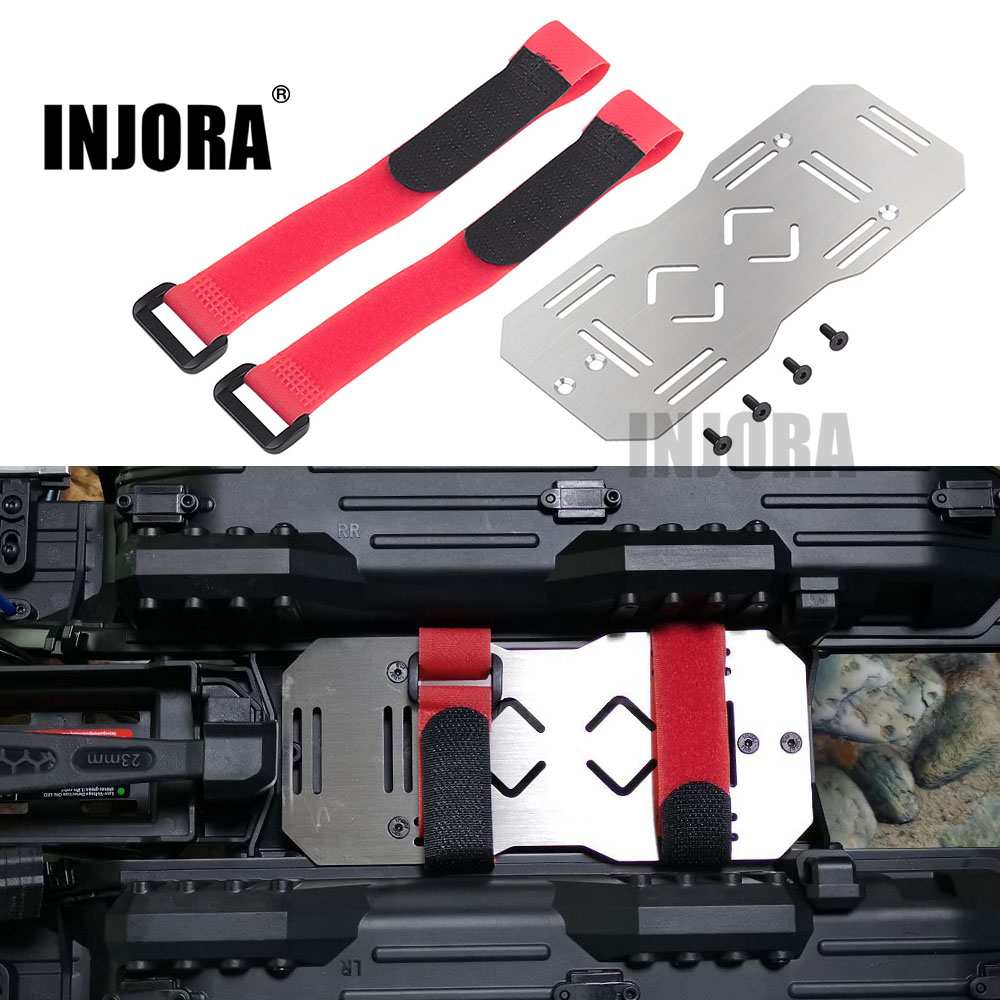 INJORA TRX-6 Stainless Steel 150*65mm Additional Battery Tray Plate With Tie For 1/10 RC Crawler Car Traxxas TRX6