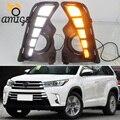 Светодиодный светильник s для Toyota Highlander 2018, 2019, 2020, Светодиодный дневной светильник, с поворотным сигналом, DRL, Автомобильный светодиодный св...