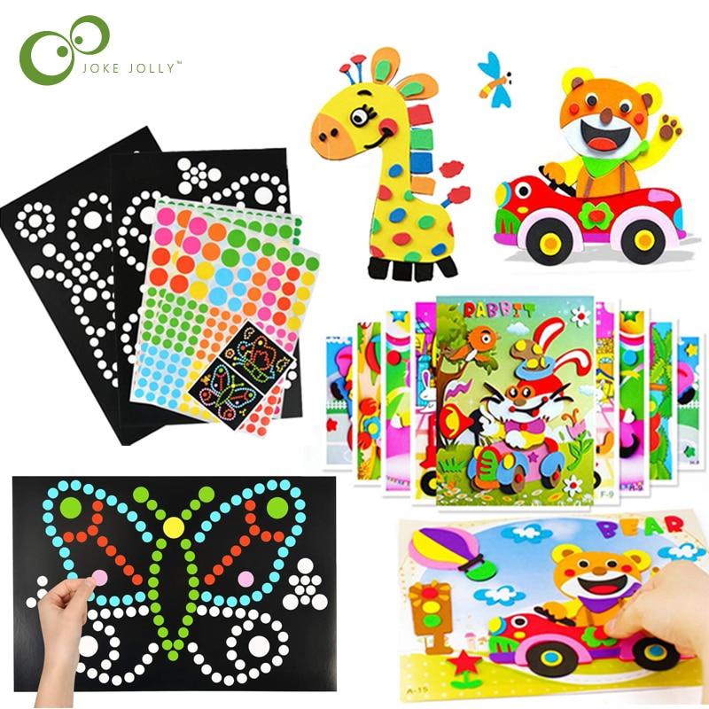 Pegatinas de espuma EVA 3D para niños, mosaicos adhesivos coloridos de punto, juego de rompecabezas artesanal, juguetes educativos de aprendizaje de animales de dibujos animados, ZXH, 11 Uds.