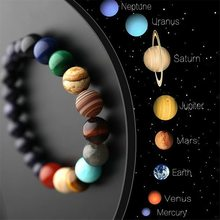 European and American Ethnic Style, Universe, Galaxy, Eight Planets, Natural Stone Elastic Bracelet Guardian Planet