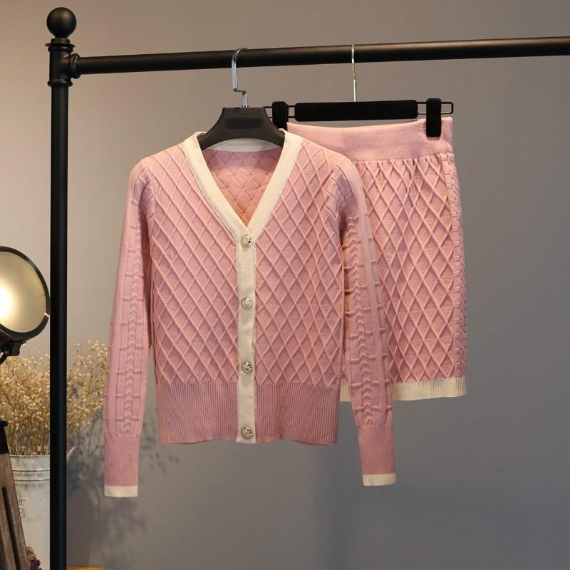 Amolapha Женский вязаный кардиган свитера юбки наборы v образный вырез сплошной клетчатый женский Повседневный OL костюм с юбкой Костюмы