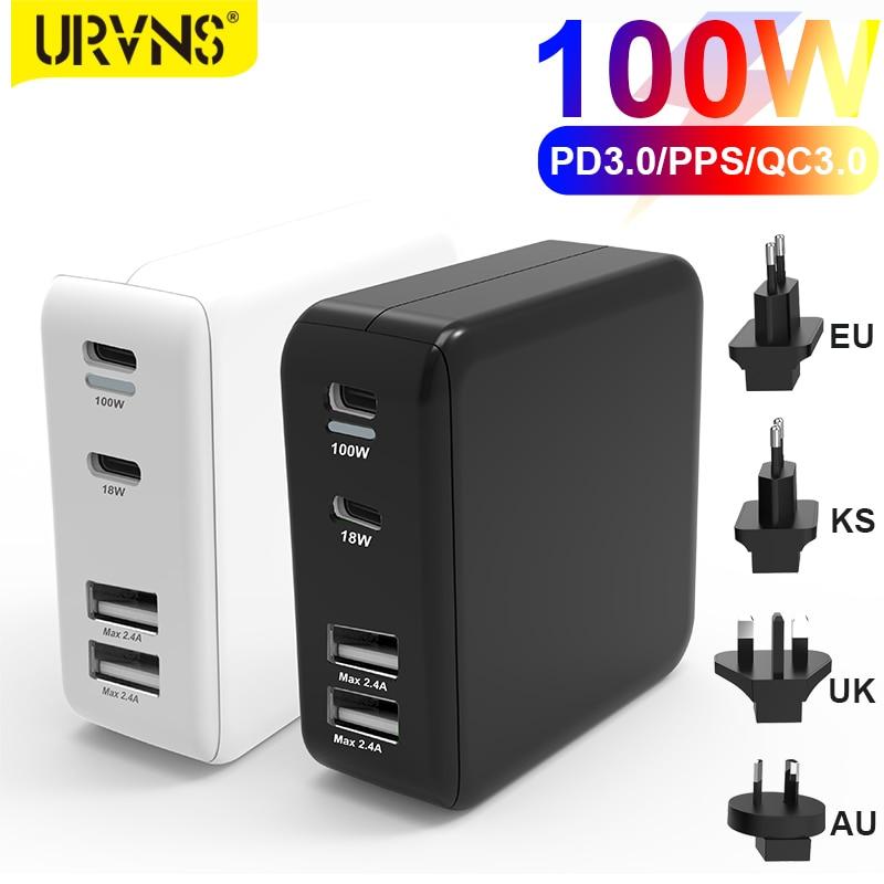 URVNS 100W 4-портовый для быстрого настенного зарядного устройства Type-C PD зарядки для USB-C ноутбуки MacBook Pro Air, iPhone, iPad Pro, Samsung, Dell XPS
