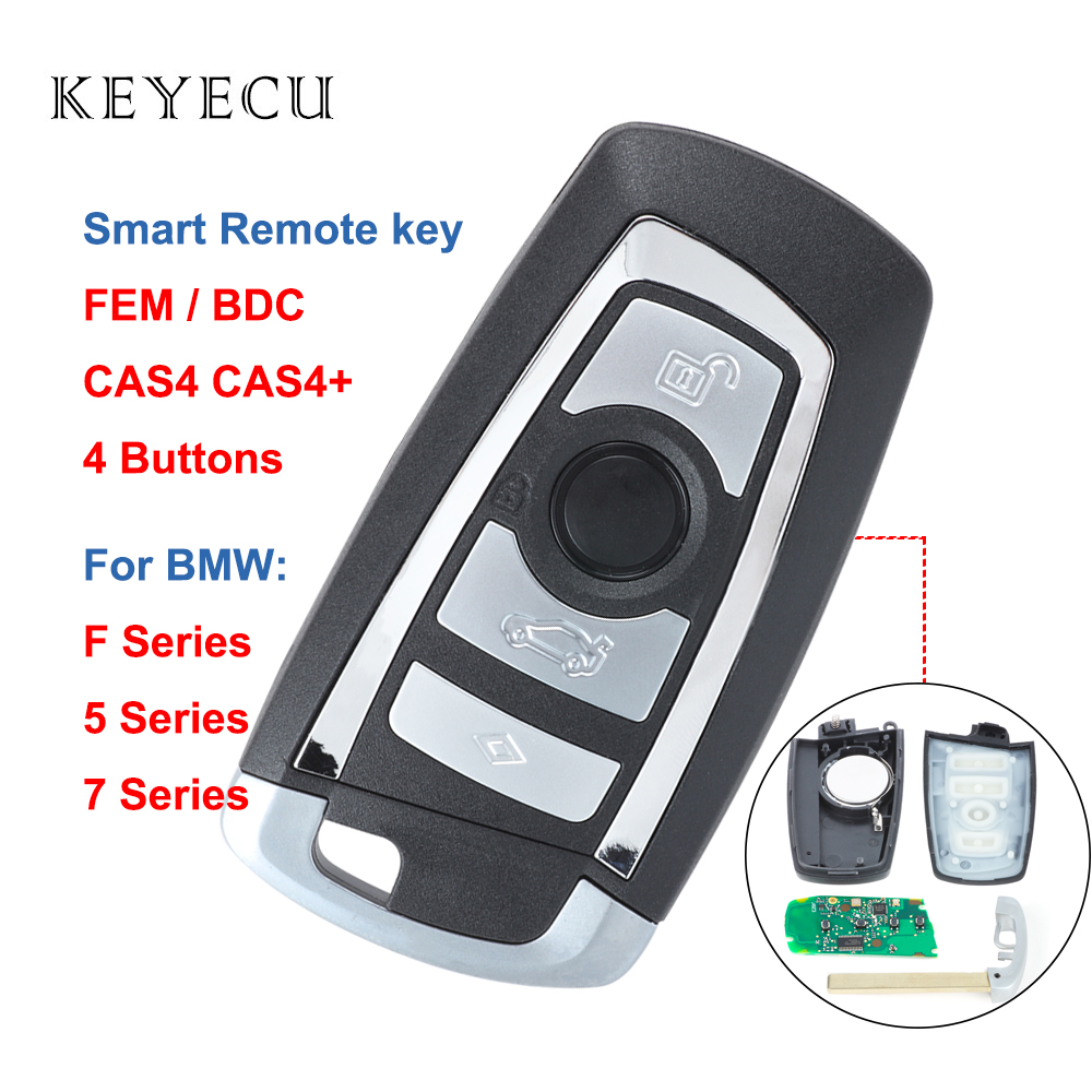 System Car Smart Keyless Remote Key Fob 4 Buttons 433MHz for BMW CAS4 CAS4
