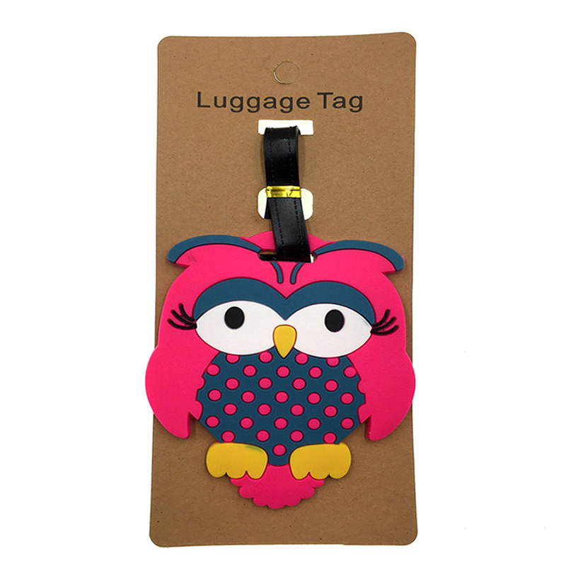 Creative Animal Prints Owl Luggage Tags Portable Suitcase Addres Holder Silica Gel Baggage Boarding Label Travel Accessories