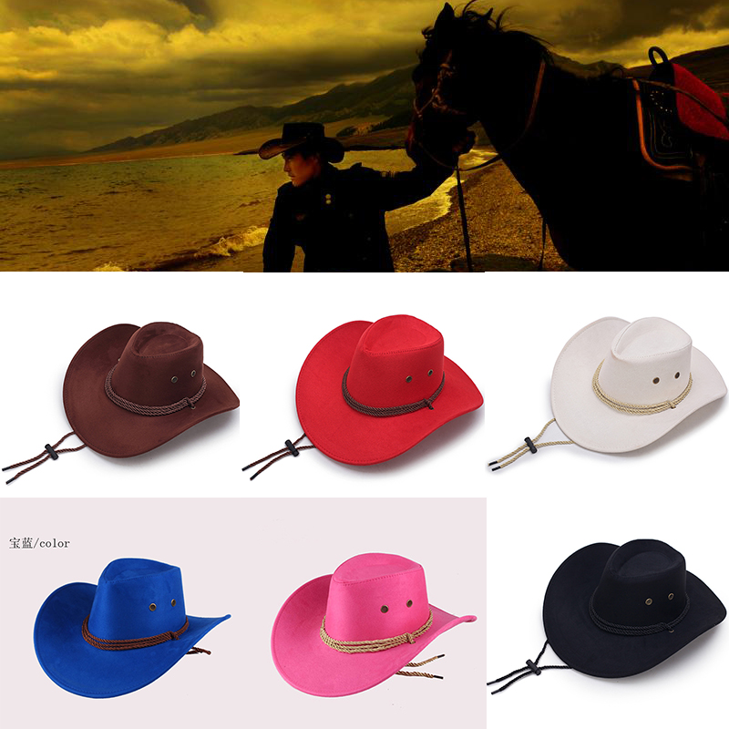 New 2021 Sun Hat Faux Leather Cowboy Hat Men and Women Travel Caps Fashion Western Hats Chapeu Cowboy 9 colors