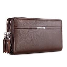KUBUG Men Briefcase Handbag Soft Leather Clutch Bag Men's Business Large Capacit