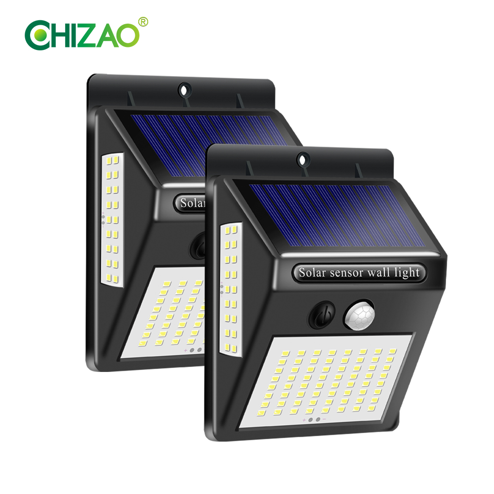 CHIZAO 20/100 LED Solar Lamp High Brightness Solar Energy Charging Outdoor Wireless Automatic Wall Lamp Motion Sensor Light