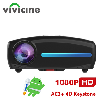 Vivicine Built-in Android 9.0 HD 1080p Home Theater Video Projector,Support 4K HDMI USB PC Multimedia Movie Proyector Beamer