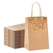 20 pces saco de papel kraft em forma de coração com alças cor sólida presente sacos de embalagem para loja roupas festa de casamento suprimentos bolsas
