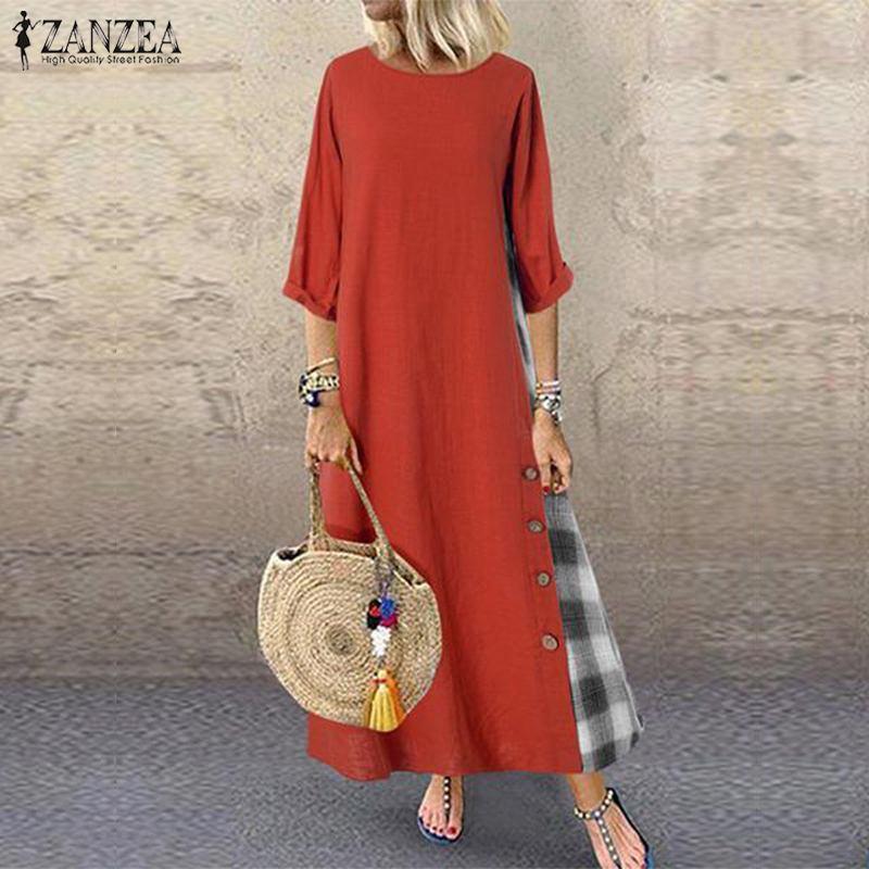 ZANZEA Autumn Vintage O Neck 3/4 Sleeve Pacthwork Sundress Women Cotton Linen Dress Robe Femme Party Vestido Plus Size Dresses