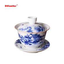 Голубой и белый фарфоровый чайный набор с чашей, китайский стиль, чайный сервиз gaiwan, набор чайников для путешествий, красивый чайник 180 мл