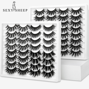 Image 1 - SEXYSHEEP 10 זוגות 3D רך פו מינק ריסים מלאכותיים טבעי מבולגן עפעף חוצה דליל ריסים הארכת עיניים איפור כלים