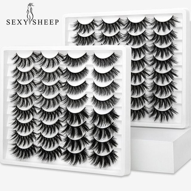 SEXYSHEEP 10 זוגות 3D רך פו מינק ריסים מלאכותיים טבעי מבולגן עפעף חוצה דליל ריסים הארכת עיניים איפור כלים