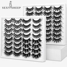 SEXYSHEEP 10 Çift 3D Yumuşak Sahte Vizon Sahte Kirpikler Doğal Dağınık Kirpik Çapraz Wispy Lashes Uzatma Göz Makyaj Araçları