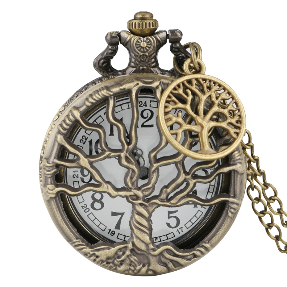 Hollow Life Tree Quartz Pocket Watch Immortal Necklace Chain Bronze Design Pendant Clock Old Vintage Fob Reloj + Tree Accessory