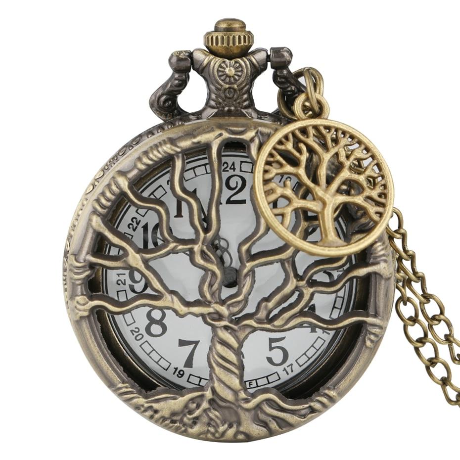 Hollow Life Tree Quartz Pocket Watch Immortal Necklace Chain Bronze Design Pendant Clock Old Vintage Fob Reloj + Tree Accessory