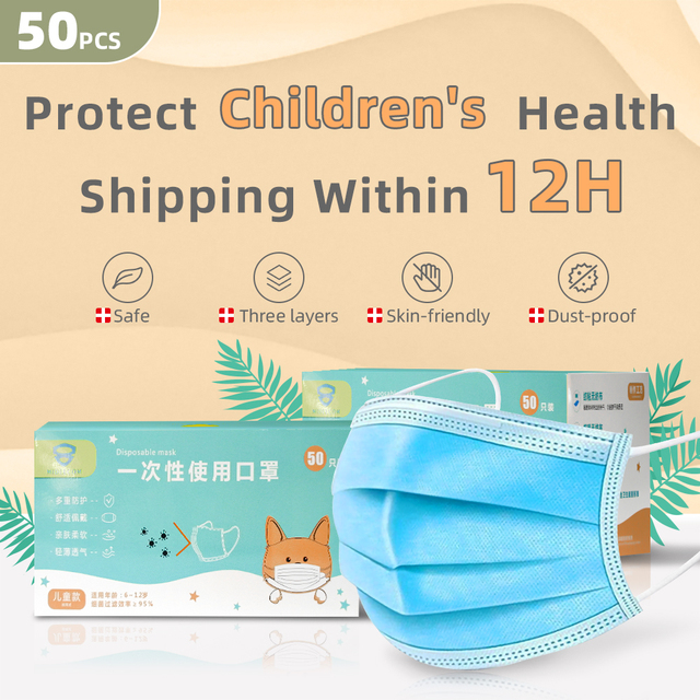 Breathable 3layer Disposable Face Masks For Kids Anti Flu Pollution Dust Soft Breathable Mascarillas Protective Mask Children