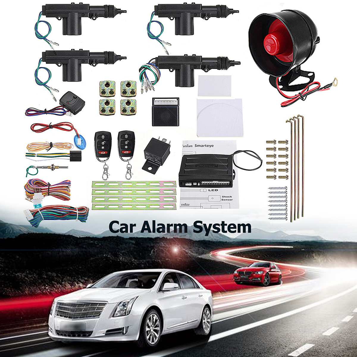Set Of Alarm Systems Car Auto Remote Central Kit Door Lock Locking Vehicle Keyless Entry System With Remote Controllers 2/4 Door