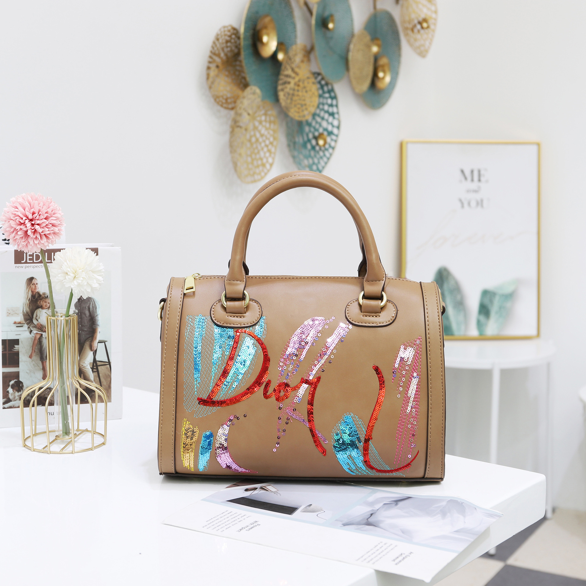 Bag For Woman Fashion Sequin Embroidery Pu Bag Ladies Famouse Portable Diagonal Tote Handbags Shoulder Designer Bag-BeeInFly