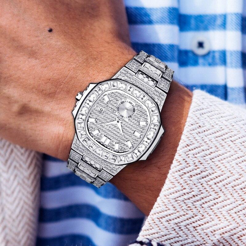 MISSFOX venda quente de alta qualidade luxo relógio masculino patek cheio pavimentado diamante nautilus relógios para relógios masculinos marca superior luxo presente