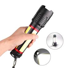 XHP 70+COB LED High Bright USB Rechargeable Flashlight with Battery Reminder Function Waterproof Lamp Ultra Bright